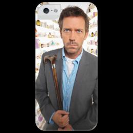 """Чехол для iPhone 5 глянцевый, с полной запечаткой """"Доктор Хаус (Хью Лори)"""" - сериалы, знаменитости, кинозвезды, доктор хаус, dr house, gregory house, md"""