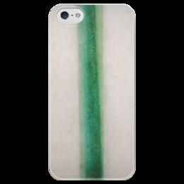 """Чехол для iPhone 5 глянцевый, с полной запечаткой """"Зелёная полоса (картина Розановой)"""" - картина, розанова"""