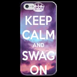 """Чехол для iPhone 5 глянцевый, с полной запечаткой """"Keep calm"""" - swag, keep calm, on"""
