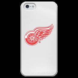 """Чехол для iPhone 5 глянцевый, с полной запечаткой """"Red Wings Detroit"""" - хоккей, hockey, спортивная, nhl, detroit, нхл, детройт ред уингз, red wings"""