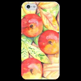 """Чехол для iPhone 5 глянцевый, с полной запечаткой """"Осенние Яблоки"""" - листья, осень, дерево, иллюстрация, яблоки"""