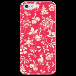 """Чехол для iPhone 5 глянцевый, с полной запечаткой """"Рождественский мотив"""" - новый год, зима, снег, рождество"""