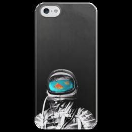 """Чехол для iPhone 5 глянцевый, с полной запечаткой """"Космос как аквариум"""" - space, космос, astronaut, космонавт"""