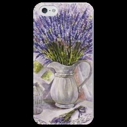 "Чехол для iPhone 5 глянцевый, с полной запечаткой """" Лаванда на столе """" - цветы, рисунок, лаванда"