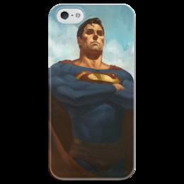 """Чехол для iPhone 5 глянцевый, с полной запечаткой """"Супермен (Superman)"""" - комиксы, superman, супермэн, dc comics, супс"""