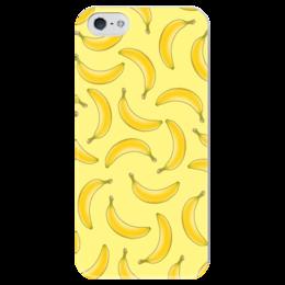 "Чехол для iPhone 5 глянцевый, с полной запечаткой ""Fruity mood"" - арт, лето, желтый, бананы, bananas"
