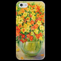 """Чехол для iPhone 5 глянцевый, с полной запечаткой """"Букет Настурции"""" - flowers, букет, букет настурции"""
