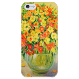 "Чехол для iPhone 5 глянцевый, с полной запечаткой ""Букет Настурции"" - букет настурции, букет, flowers"