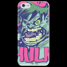"Чехол для iPhone 5 глянцевый, с полной запечаткой ""Халк (Hulk)"" - comics, комиксы, hulk, марвел, халк"