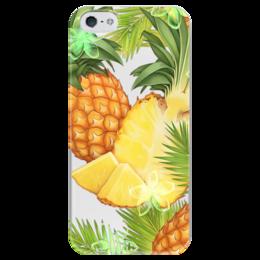 """Чехол для iPhone 5 глянцевый, с полной запечаткой """"Ананасы"""" - фрукты, рисунок, тропики, ананасы"""