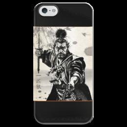 """Чехол для iPhone 5 глянцевый, с полной запечаткой """"Самурай"""" - кино, самурай, япония, акиро курасава"""