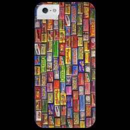 "Чехол для iPhone 5 глянцевый, с полной запечаткой ""Жвачки 90-х"" - 90's, gum, фантики, игра в фантики, жвачка, turbo"