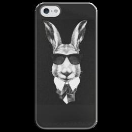 "Чехол для iPhone 5 глянцевый, с полной запечаткой ""Черно-белый Заяц"" - арт, животные, стиль, заяц, кролик"