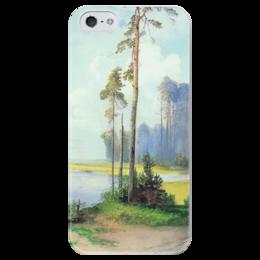 """Чехол для iPhone 5 глянцевый, с полной запечаткой """"Летний пейзаж. Сосны."""" - картина, саврасов"""