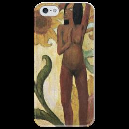 """Чехол для iPhone 5 глянцевый, с полной запечаткой """"Карибская женщина, или Обнаженная с подсолнухами"""" - картина, поль гоген"""