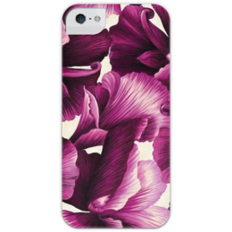 """Чехол для iPhone 5 глянцевый, с полной запечаткой """"цветочный принт """" - purple"""