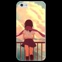 """Чехол для iPhone 5 глянцевый, с полной запечаткой """"Anime Wind"""" - девушка, sky, аниме, облака, anime, wind, ветер, clouds"""