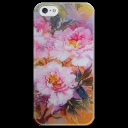 """Чехол для iPhone 5 глянцевый, с полной запечаткой """"Древесные пионы."""" - арт, цветы, art, в подарок, flowers, пионы, букет, peony, цветы в подарок"""