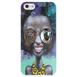"""Чехол для iPhone 5 глянцевый, с полной запечаткой """"девушка арт"""" - арт, девушка"""