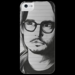 """Чехол для iPhone 5 глянцевый, с полной запечаткой """"Johnny Depp"""" - арт, рисунок, джонни депп, actor, актёр"""