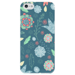 """Чехол для iPhone 5 глянцевый, с полной запечаткой """"Цветы"""" - арт, лето, цветы, узор, цветок, весна, зеленый, синий, природа, паттерн"""
