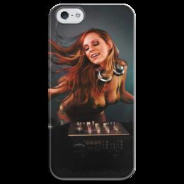 """Чехол для iPhone 5 глянцевый, с полной запечаткой """"DJ MUSIC"""" - музыка, dj, клуб"""