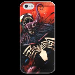 """Чехол для iPhone 5 глянцевый, с полной запечаткой """"Веном (Venom)"""" - марвел, комиксы, человек-паук, веном, comics"""