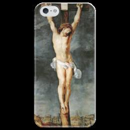 """Чехол для iPhone 5 глянцевый, с полной запечаткой """"Христос на кресте"""" - картина, рубенс"""