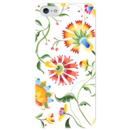 """Чехол для iPhone 5 глянцевый, с полной запечаткой """"Цветы на белом"""" - арт, цветы, популярные, белый, рисунок, девушке, spring, весна"""