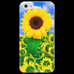 """Чехол для iPhone 5 глянцевый, с полной запечаткой """"Подсолнух"""" - лето, цветок, небо, облака, подсолнух"""