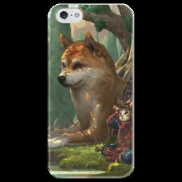 """Чехол для iPhone 5 глянцевый, с полной запечаткой """"Samurai cat"""" - самурай, doge, доге, сибу ину"""