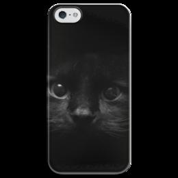 "Чехол для iPhone 5 глянцевый, с полной запечаткой ""взгляд"" - black, eyes, котёнок, kitten"