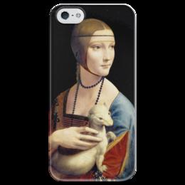 """Чехол для iPhone 5 глянцевый, с полной запечаткой """"Дама с горностаем (Леонардо да Винчи)"""" - картина, портрет, да винчи"""