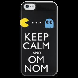 """Чехол для iPhone 5 глянцевый, с полной запечаткой """"keep calm and OM NOM """" - games, прикольные, old school, pacman, алина макарова, 80's"""