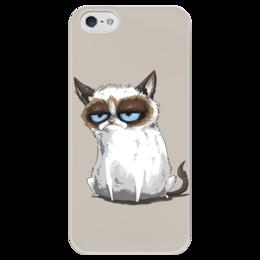 """Чехол для iPhone 5 глянцевый, с полной запечаткой """"Grumpy Cat (Сердитый Котик)"""" - кот, кошка, grumpy cat, сердитый котик, соус тардар, tardar sauce"""