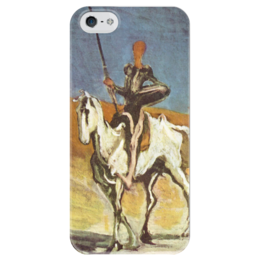 """Чехол для iPhone 5 глянцевый, с полной запечаткой """"Дон Кихот (картина Оноре Домье)"""" - картина, домье"""