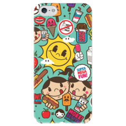 """Чехол для iPhone 5 глянцевый, с полной запечаткой """"Супер Мега Весело"""" - стикер-арт, sticker bombing, sticker art"""