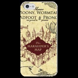 """Чехол для iPhone 5 глянцевый, с полной запечаткой """"Карта мародеров"""" - harry potter, гарри поттер, карта мародеров"""