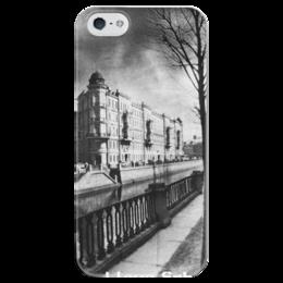 """Чехол для iPhone 5 глянцевый, с полной запечаткой """"I love Spb"""" - город, черно-белое, архитектура, канал, санкт-петербург, питер, любовь"""