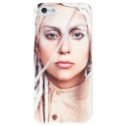"Чехол для iPhone 5 глянцевый, с полной запечаткой ""Lady Gaga"" - gaga, lady gaga, леди гага, ladygaga"