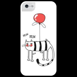 """Чехол для iPhone 5 глянцевый, с полной запечаткой """"Летательный кот"""" - кот, арт, шар, cat, meow, balloon"""