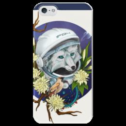 """Чехол для iPhone 5 глянцевый, с полной запечаткой """"Лис-космонавт"""" - арт, space, astronaut, лис, fox, космонавт"""
