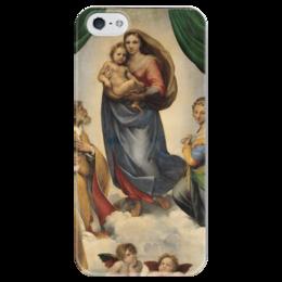 """Чехол для iPhone 5 глянцевый, с полной запечаткой """"Сикстинская мадонна (Рафаэль)"""" - картина, рафаэль"""