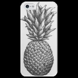 """Чехол для iPhone 5 глянцевый, с полной запечаткой """"Ananas """" - еда, чб, ананас, pineapple"""
