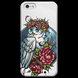 """Чехол для iPhone 5 глянцевый, с полной запечаткой """"Pion-owl"""" - арт, цветы, сова, нежность"""