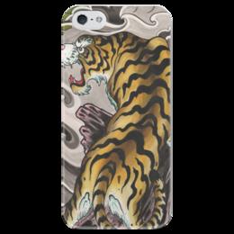 """Чехол для iPhone 5 глянцевый, с полной запечаткой """"тигр."""" - хищник, животные, тигр, зверь, японский стил"""