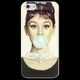 """Чехол для iPhone 5 глянцевый, с полной запечаткой """"Одри Хепбёрн """" - audrey hepburn, одри хепбёрн"""