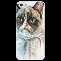 """Чехол для iPhone 5 глянцевый, с полной запечаткой """"котэ"""" - кот, котэ, необычное, киса, cat, grumpy"""