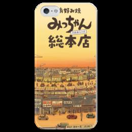 """Чехол для iPhone 5 глянцевый, с полной запечаткой """"Рассвет в провинции"""" - города, япония, иероглифы, рассвет в провинции"""