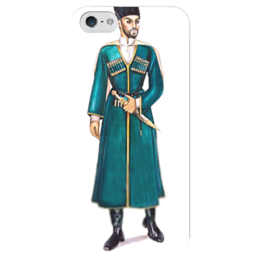 """Чехол для iPhone 5 глянцевый, с полной запечаткой """"Горец"""" - джигит, горец, черкес"""